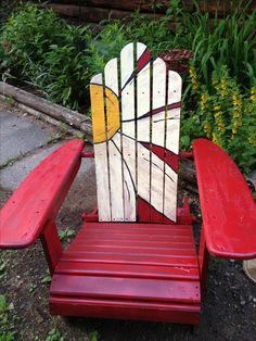 See more ideas about Adirondack chairs, Paintinged furniture and also Paint. Hand Painted Chairs, Hand Painted Furniture, Funky Furniture, Paint Furniture, Rustic Furniture, Painted Rocking Chairs, Porch Furniture, Furniture Upholstery, Office Furniture