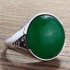 Green JADE MENS RING 925 Sterling Silver Natural Stone Vintage Ring for Man # bestmensgifts # jewelsformen # mensjewelryshop # onlineshopping # menstylefashion # mensringsonline # giftforbf # handmadering # mensaccessories #finemensjewelry