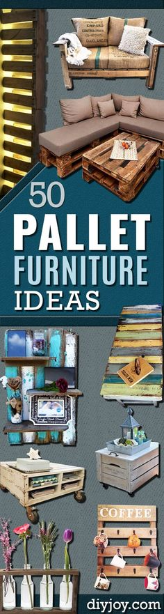 DIY Pallet Furniture Ideas - Best Do It Yourself Projects Made With Wooden Pallets - Indoor and Outdoor Bedroom Living Room Patio. Coffee Table Couch Dining Tables Shelves Racks and Benches Wooden Pallet Projects, Pallet Crafts, Diy Pallet Furniture, Wooden Pallets, Furniture Projects, Wooden Furniture, Bedroom Furniture, Furniture Storage, Wooden Diy