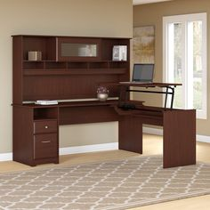 Bush Furniture Cabot 3 Position L Shaped Sit to Stand Desk with Hutch in Harvest Cherry (Red) Corner Desk With Hutch, Computer Desk With Hutch, Desk Hutch, Desk With Drawers, Business Furniture, Home Office Furniture, Kitchen Furniture, Furniture Online, Furniture Companies