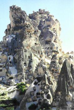 Houses carved into the mountain, Cappadocia, Turkey ~