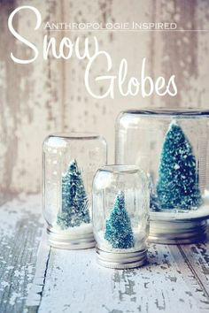 DIY Christmas Snow Globes! These are so cute!