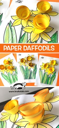33 Ideas spring art for kids daffodils paper flowers Kids Crafts, Tree Crafts, Flower Crafts, Easter Crafts, Crafts To Do, Spring Art, Spring Crafts, Daffodil Craft, Chicken Drawing