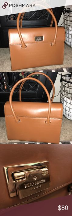 Kate Spade tote Kate Spade leather tote.  Bought from another Posher, but too small for everything I carry.  Two inside pockets + inside zipper pocket Gold hardware.  Straps are long enough to wear on shoulder.  In excellent condition. kate spade Bags Totes