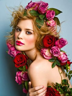 woman with pink and red roses