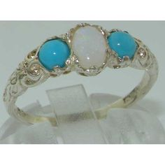 Ladies Solid White 10K Gold Natural Opal & Turquoise English Victorian Trilogy Ring – Size 8 – Finger Sizes 5 to 12 Available – Ideal gift for Valentines, Mothers Day, Birthday, Christmas, Thanksgiving, Graduation, Confirmation, Easter http://www.easterdepot.com/ladies-solid-white-10k-gold-natural-opal-turquoise-english-victorian-trilogy-ring-size-8-finger-sizes-5-to-12-available-ideal-gift-for-valentines-mothers-day-birthday-christmas-thanksg/ #easter  One centre oval cut 6×4 mm (0...