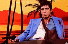 Items similar to Scarface Tony Montana Illustration - Al Pacino Movie Gangster Icon Film Pop Art Home Decor in Poster Print or Canvas on Etsy Scarface Poster, Scarface Movie, Al Pacino, Dad Pictures, Gangster Movies, Pop Art Posters, Movie Posters, Rocky Horror Picture, Film Serie