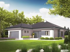 Projekt domu Eris II (wersja C) energo Modern Family House, Modern Bungalow House, Bungalow Homes, Bungalow House Plans, Dream House Plans, Modern House Design, House Plans 3 Bedroom, House Rooms, Country Home Exteriors