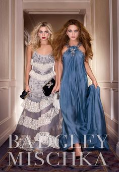 The Olsen twins in Badgley Mischka. I would love to wear the blue gown.