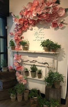 Pretty paper flower, wall display - My Trip To Magnolia Market & Things to Know if You Visit Design Shop, Flower Shop Design, Display Design, Display Ideas, Paper Flower Wall, Flower Wall Decor, Flower Decorations, Paper Flowers, Farm Decorations