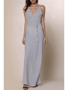Striped Spaghetti Strap Backless Maxi Dress - STRIPE S