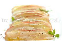 Tra Pignatte e Sgommarelli: Le mie ricette - Carpaccio di dentice e pesca tabacchiera, con olio alla menta e fiocchi di sale al limone