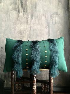 Moroccan Emerald Green Wedding Blanket Fringe Tassel Pillow | Boho Pillow | Tribal | Handira | Berber | Fringe Pillow | Metal Coins | Brass