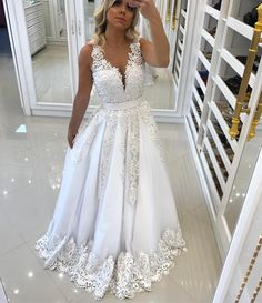 Illusion Back White Pearls Party Dress, Appliques V Neck Formal Dress, Sleeveless Long Prom Dress