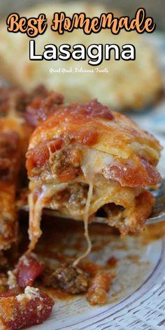 Homemade Lasagna, Lasagna Recipes, Homemade Sauce, Rice Recipes, Pasta Recipes, Crockpot Recipes, Recipies, Cooking Recipes, Italian Dishes
