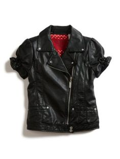 GUESS Kids Girls Short-Sleeve Pleather Jacket with Smocki