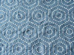 """Sashiko:  """"This hexagon pattern took ages. It looks so simple, but took an incredible amount of stitching."""""""
