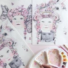 Fine art print One Sonny Day. Australian kids and children's art. Soft pink flower crown, lilac floral headdress, delicate antique lace embossing, pink purple butterflies, unicorn, unicorn art. Custom portrait. Perfect for wall art, little girls bedroom deco, children kids gifts, christening, baby shower, christmas present. Watercolour, painting, quote