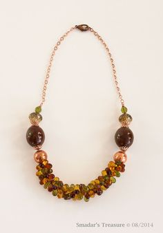 Rose Gold Beaded Necklace with Dark Amber Topaz by SmadarsTreasure