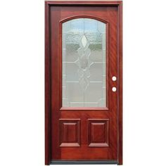 Pacific Entries Traditional 3/4 Arch Lite Stained Mahogany Wood Entry Door-M63STML at The Home Depot