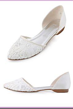 3f3ab4bb5c43f8 ElegantPark Women Comfort Heel Pointed Toe Lace Bridal Wedding Flats flat  ivory wedding shoes  WeddingShoes  WomensFashion  WomensStyle  wedding ...