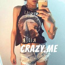 Vintage Eagle Graphic Night Rider Crop Tank Top For Women Street Fashion 100% Cotton Jersey F 21