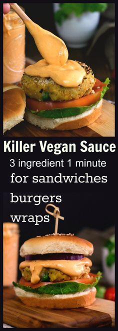 Vegan spicy sauce for burgers sandwiches. Yummy to the core All you need is 1 minute and 3 ingredient. Vegan spicy sauce for burgers sandwiches. Yummy to the core All you need is 1 minute and 3 ingredient. Vegan Sauces, Vegan Foods, Vegan Dishes, Yummy Vegan Food, Gluten Free Sauces, Vegan Sweets, Veggie Recipes, Whole Food Recipes, Vegetarian Recipes