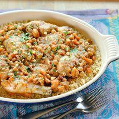 Moroccan #Recipe: Chicken Tagine with Apricots, Almonds & Chickpeas
