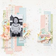 2 Scrapbook Layouts Video Tutorials] By Babi Kind Product by Graphic 45 - Little Darlings - Deluxe Collector's Edition - Decades Ink Baby Scrapbook Pages, Scrapbook Albums, Mixed Media Scrapbooking, Scrapbooking Layouts, Grid Layouts, Paper Crafts, Diy Crafts, Graphic 45, Little Darlings