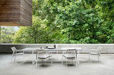 Nodi: a sculptural chair with Tribù DNA Outdoor Tables, Outdoor Spaces, Outdoor Decor, Outdoor Seating, Dining Tables, Outdoor Living, Balcony Chairs, Garden Table, Modern Classic