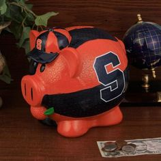 Syracuse Orange Large Resin Thematic Piggy Bank