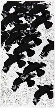 """Crows Ravens:  """"#Crows in Flight,"""" by Dona Reed."""
