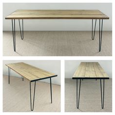 Upcycled scaffold plank table top and mild steel hairpin legs