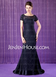 Mother of the Bride Dresses - $165.99 - Mermaid Scoop Neck Sweep Train Charmeuse Lace Mother of the Bride Dress With Beading Sequins (008018690) http://jenjenhouse.com/Mermaid-Scoop-Neck-Sweep-Train-Charmeuse-Lace-Mother-Of-The-Bride-Dress-With-Beading-Sequins-008018690-g18690