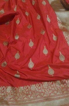 Red Katan Silk Weaved Banarasi Saree