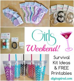 Girls Weekend Survival Kit Bachelorette Survival Kits, Hen Party Survival Kit, Hangover Survival Kit, Hangover Kits, Bachelorette Ideas, Bachlorette Party, Bachelorette Weekend, Survival Tips, Slumber Party Favors