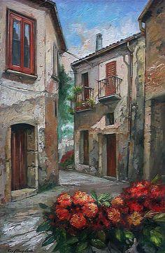 Ciclo Vicoli & Vichi Francesco Mangialardi Watercolor Art, Art Painting, Landscape Paintings, Painting, Oil Painting, Oil Painting Abstract, Art And Architecture, Art Pictures, Landscape Art