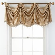Brittany Empire Rod-Pocket Valance ($42) ❤ liked on Polyvore featuring home, home decor, window treatments, curtains, window curtains, fringe curtains, rod pocket curtains and pole pocket curtains