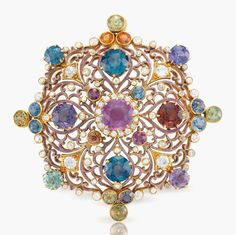 A Renaissance Revival multi-coloured sapphire and diamond pendant brooch, by Paulding Farnham, Tiffany & Co. High Jewelry, Jewelry Art, Antique Jewelry, Vintage Jewelry, Jewelry Design, Jewelry Necklaces, Geek Jewelry, Jewellery, Louis Comfort Tiffany