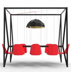 Swing Table is a walnut table with eight chairs that hang from a frame high above the table. It measures feet long by 7 feet high. Swing Table was created by design studio Duffy London. via Fre. Bar Dining Table, Table And Chairs, A Table, Dinner Table, Red Chairs, Design Furniture, Home Furniture, Wicker Furniture, Unusual Furniture