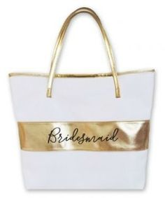 Bridal Party Gold Stripe Bag  Bridal Party Tote Bags are a fun way to package thank you gifts on the big day! Each bag comes with a bridal party title printed in black. Choose from Bride, Bridesmaid, or Maid of Honor.