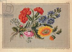 Bunch of roses, carnations, marigolds and forget-me-not embroidery design, 19th century