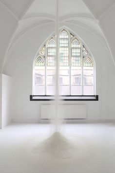 Sanne Vaassen - During a five day performance 500 kilo of flour is dropped through a hole on the first floor onto the ground floor. 2013
