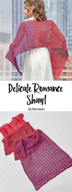 Delicate Romance Shawl free #crochet pattern in It's a Wrap yarn. This is the crochet shawl you'll depend on for special occasions, last minute invites or any date night. The cotton blend yarn looks wonderful and drapes around your shoulders beautifully. #Itsawrapyarn #oneballshawl