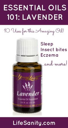 Essential Oils 101 Lavender Uses.  Also helps with motion sickness, rashes and allergies.