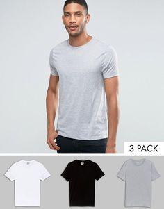 Bild 1 von ASOS – T-Shirts mit Rundhalsausschnitt im 3er-Set in Weiß/Schwarz/Grau meliert, 17% RABATT