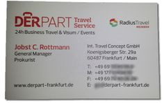 Derpart Travel Service Frankfurt incorporates the Radius Travel member logo on business cards