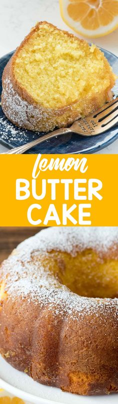 Easy Lemon Butter Cake: I've created heaven: Easy Lemon Butter Cake starts with a cake mix and has the perfect lemon flavor. The warm cake is soaked with a lemon butter sauce! Lemon Desserts, Lemon Recipes, Köstliche Desserts, Delicious Desserts, Dessert Recipes, Cake Mix Recipes, Pound Cake Recipes, Bunt Cakes, Cupcake Cakes