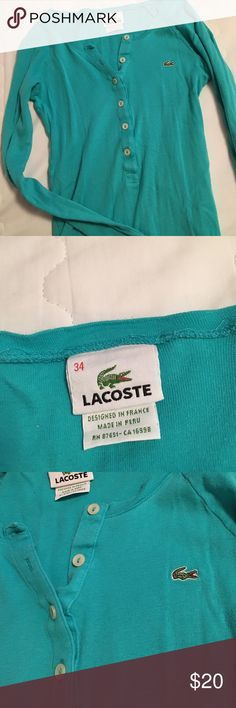 Lactose tee Greenish teal lacoste tee long sleeves all buttons intact Lacoste Tops Tees - Long Sleeve