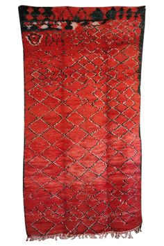 Vintage Moroccan Rug red wool hand knotted pattern from the M.Montague Souk home goods hand-picked by Maryam Montague